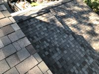 Detail shot of composite tile roof installation