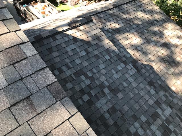Detail shot of composite tile roof installation