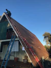 Installing a roof with a high pitch in Columbia, California