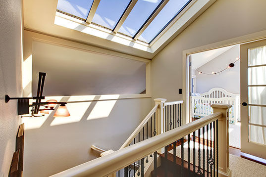 interior shot of newly installed skylights by Velux